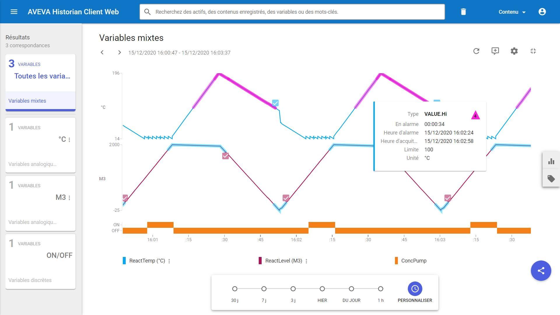 Contextualisation des situations d'alarmes et événements directement sur le tracé des courbes dans l'application Web Historian Client Web.